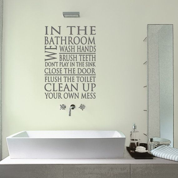 40 best bathroom wall stickers images on pinterest for Bathroom decor quotes