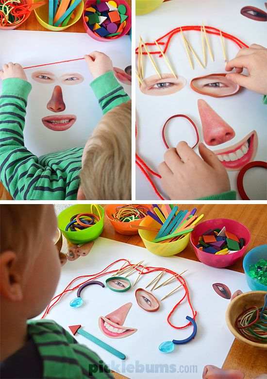 Make these crazy faces with some loose parts + free printable facial features *funny