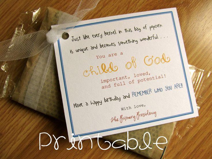 Printable- PDF-  Child of God Popcorn- Birthday Gift Idea. $2.00, via Etsy.