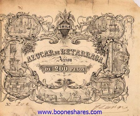 AZUCAR DE BETARRAGA / Chile  SANTIAGO. Accion de 200 Pesos. 1856 black. No 202