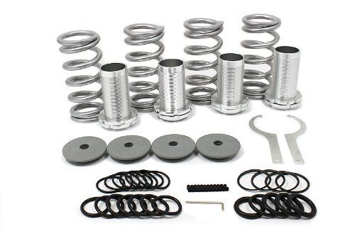 """1993-1997 Honda Civic Del Sol Coilover Lowering Spring 93 94 95 96 97 by Godspeed. $35.99. # Item Condition: Brand New # Complete Set (2 front and 2 Rear) # Complete Kit: aluminum sleeves and locking perches, coil springs, top hats, spanner wrenches, bag of plastic rings # Lower your car between 1-4"""" simply by adjusting the locking perches # Using performance shock and coil over high low kit, the ride quality is much better than most coilovers because of the added bu..."""