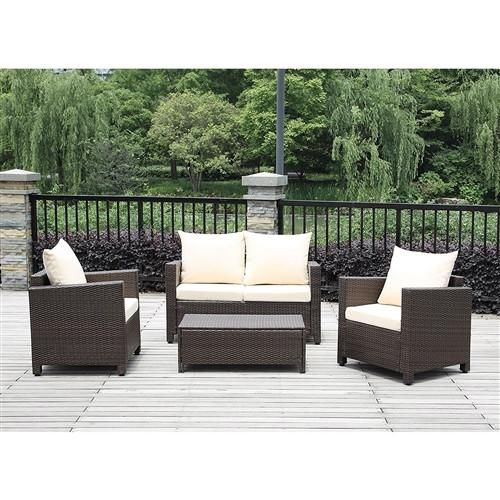 4 Piece Outdoor Resin Wicker Patio Furniture Set With Beige Cushions