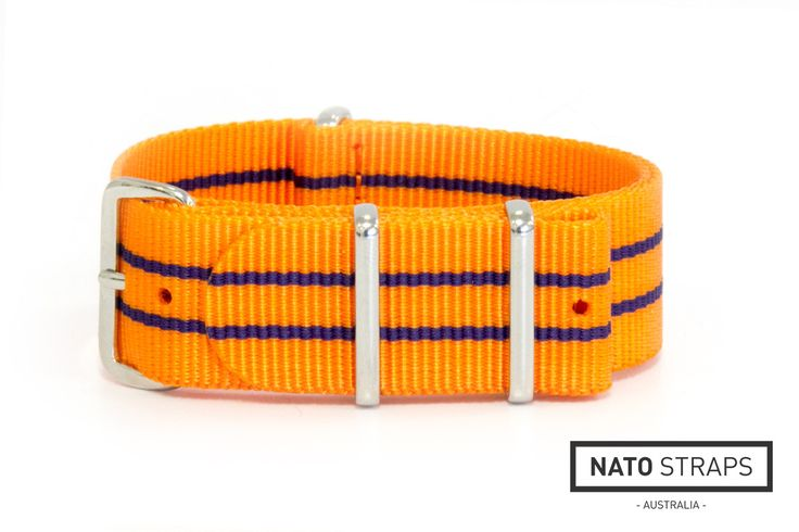 Orange NATO strap with navy stripes | NATO Straps Australia | Watch Straps Australia