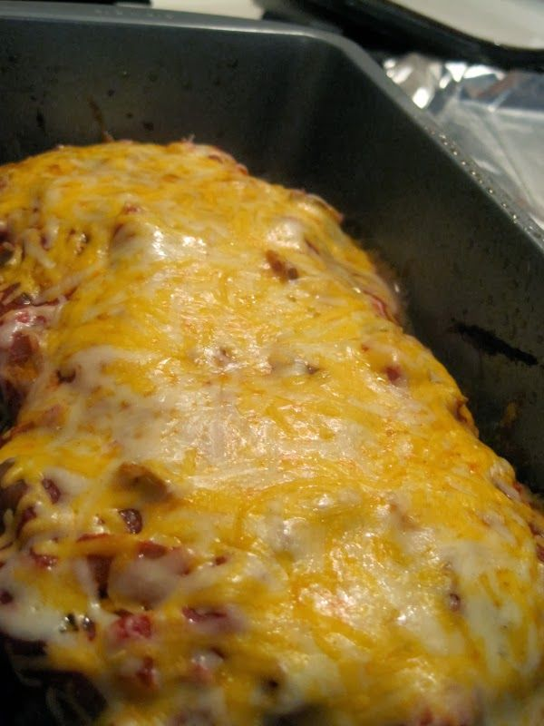 Taco Meatloaf - The actual recipe is a little blech. But, what a great concept.