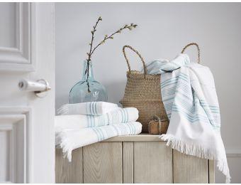 Linge de bain - #bleu  -#hammam Serviette jacquard - Blanc Cerise