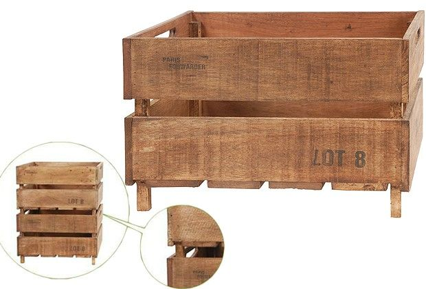 Large Farmer's Market Stackable Wood Crate