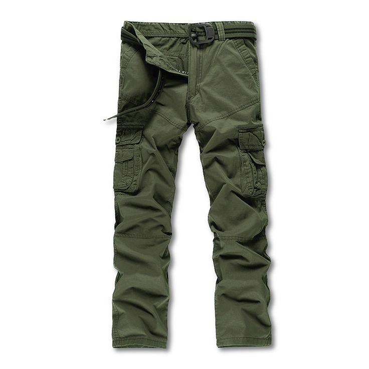 Мужские камуфляжные штаны уменьшают подходящие полная длина военные рабочие брюки мужчины брюки-карго хаки армия мульти-карманы брюки свободного покроя