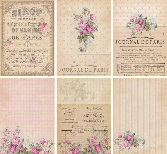 INSTANT DOWNLOAD diGiTAL DoWnLOAds ShaBBY ChIc GiFt TAgs FLoRaL baCKgroUnds FrENch EphEmeRa PrinNTaBLe sCrAPbooKing KiT PoLKa DoTs, No. 58