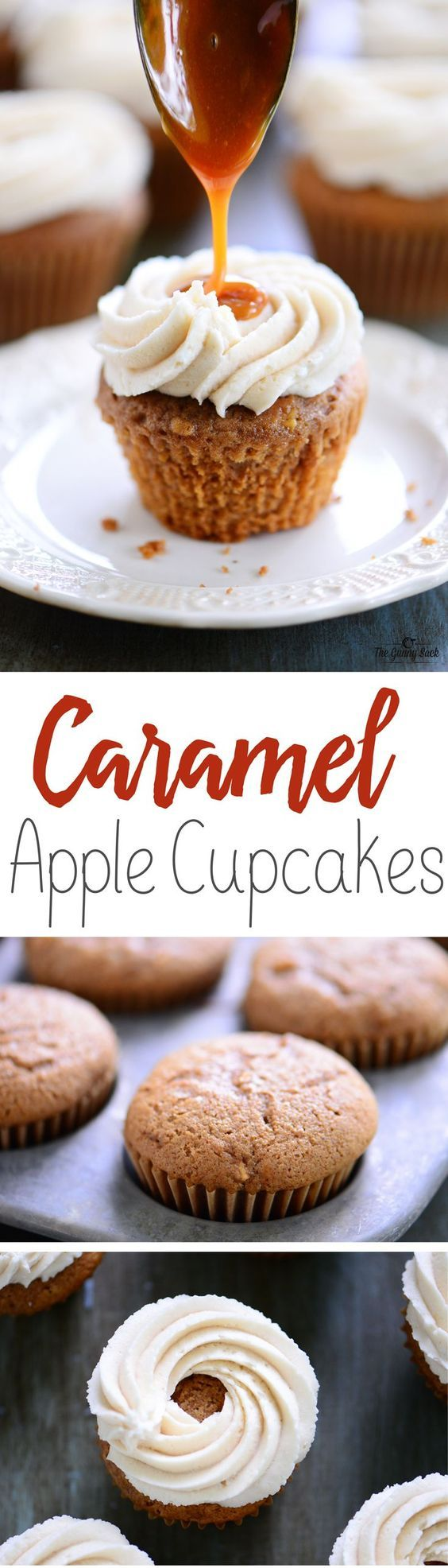 Mouthwatering Fall Dessert Recipe: Caramel Apple Cupcakes made with easy apple cupcakes cream cheese buttercream frosting and warm caramel drizzled on top.