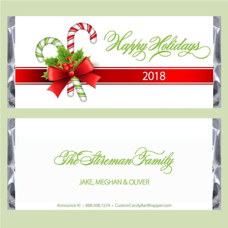 Candy Cane Christmas Candy Bar Wrappers #christmas #candy #announceit
