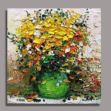 Hand-Painted+Floral/Botanical+One+Panel+Canvas+Oil+Painting+For+Home+Decoration+–+USD+$+79.99