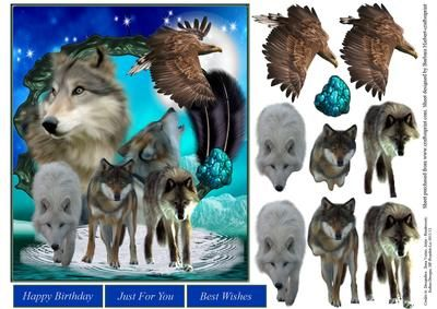 Northern Lights Wolf Topper with Decoupage on Craftsuprint - Add To Basket!