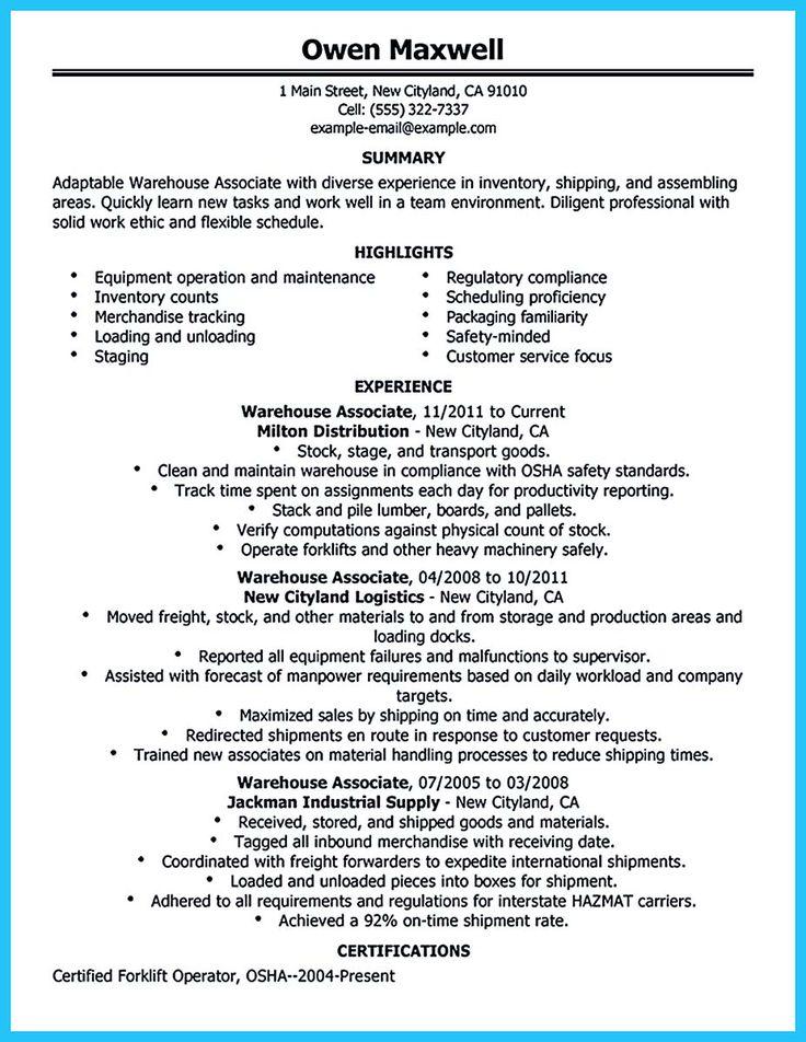 Simple Resume for Machine Operator Job Descriptions     Pinterest