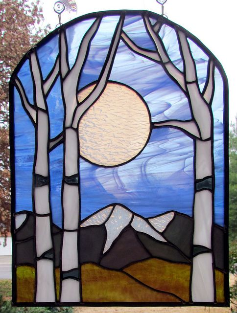 Stained glass winter aspen trees