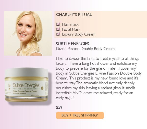 Subtle Energies Divine Passion Double Body Cream - featured in Adore Beauty's Sunday Night Rituals staff feature.