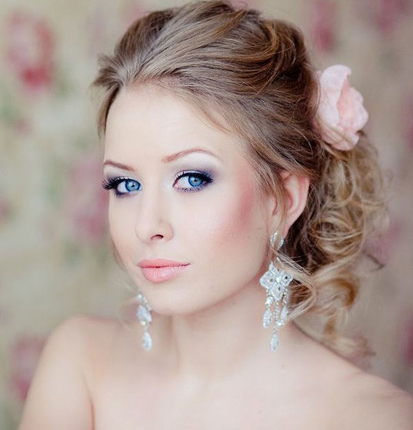 beautiful bridal makeup with red-cheeked  and Smokey eyes