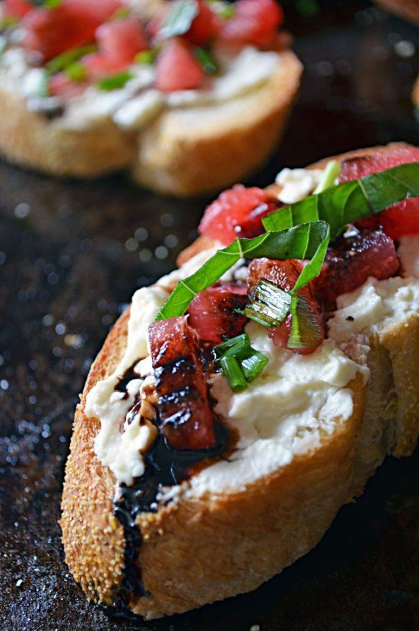 Watermelon Bruschetta with Whipped Feta, Basil, and Balsamic Drizzle