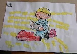 Hier zie je een tekening van bob de bouwer die die een metselaar is.