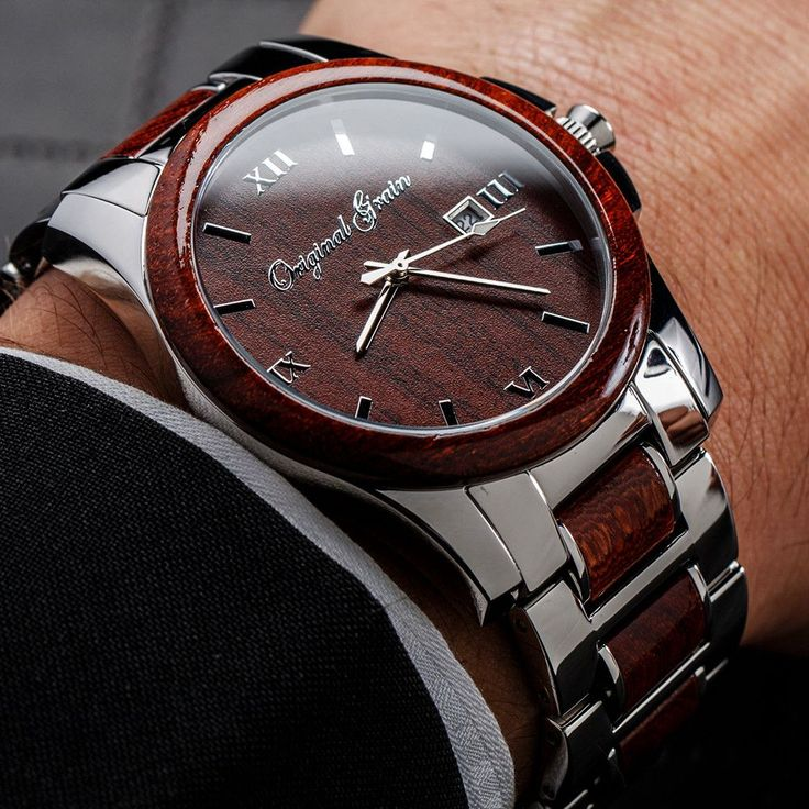 The perfect combination of style and class, this watch features polished stainless steel and radiant red rosewood. The anytime, anywhere, always...