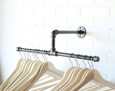 Clothing Rack - Galvanized Steel Pipe - Silver -Retail Display - Industrial - 10…