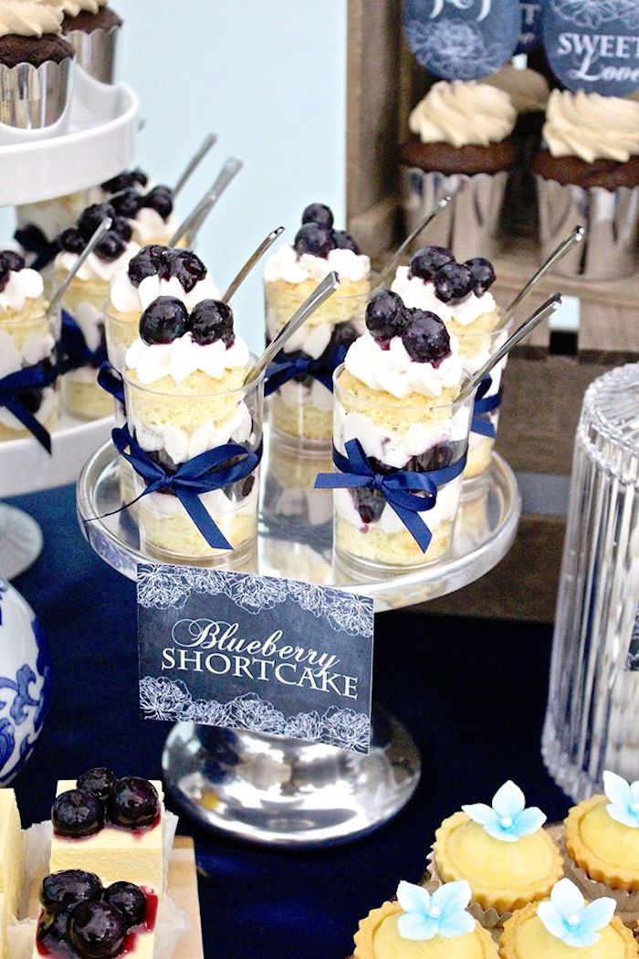 Blueberry Shortcake Shooters from a Rustic Asian Wedding Dessert Table via Kara's Party Ideas KarasPartyIdeas.com (9)