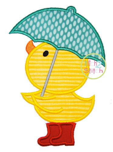 Pato paraguas diseño de máquina de bordado de por TheItch2Stitch