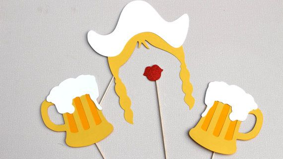 Oktoberfest Prop Set - Dutch Girl Photo Booth Prop - Features Blonde Braids with a White Dutch Girl Hat! Includes one pair of our famous ruby red