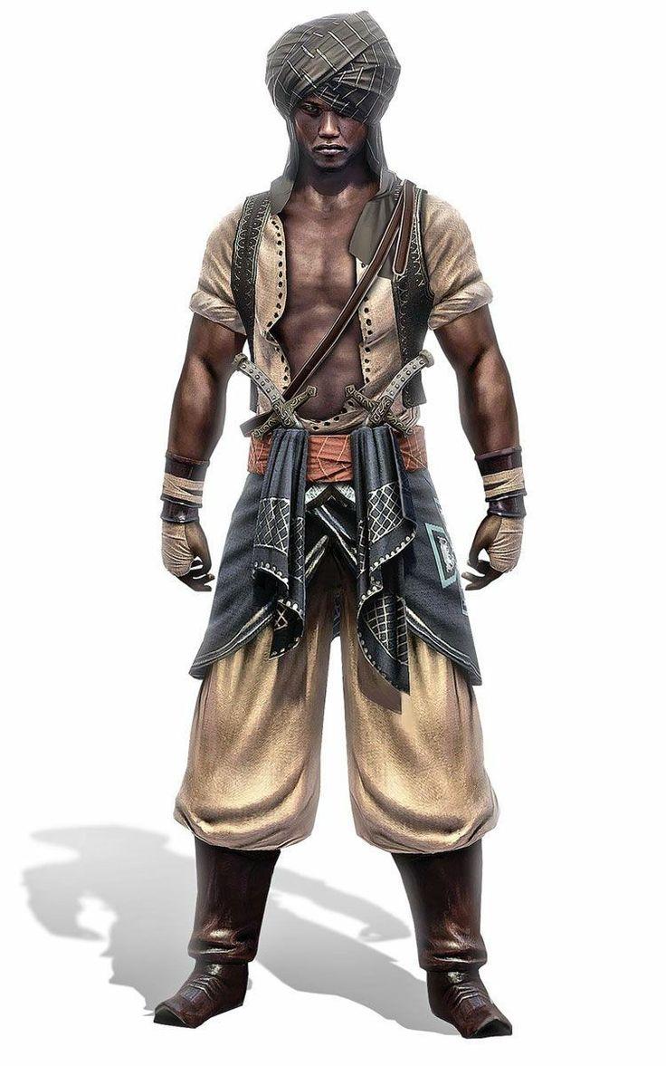 Black Fantasy Art - Male - Pathfinder PFRPG DND D&D d20 fantasy