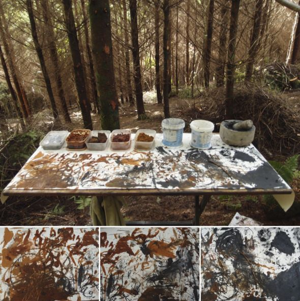 painting with the earth, art in the woods, courage copse creatives, north devon (p ward 2013)