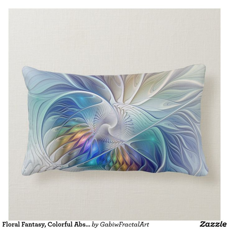 Floral Fantasy Colorful Abstract Fractal Flower Lumbar Pillow Zazzle Com In 2020 Abstract Flower Throw Pillows Throw Pillows