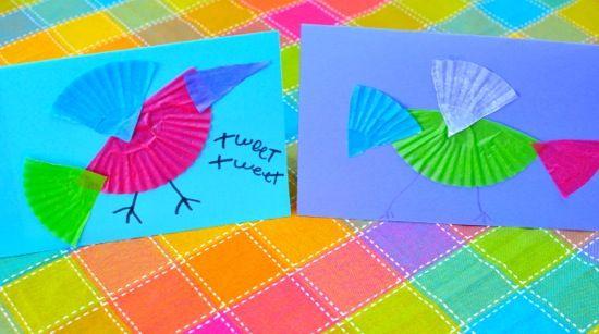 Colorful bird card craft ~ Inner Child Fun: Birds Cards, Child Fun, Bird Cards, Kids Crafts, Crafts Kids, Cards Crafts, Spring Crafts, Cupcake Liner, Birds Crafts