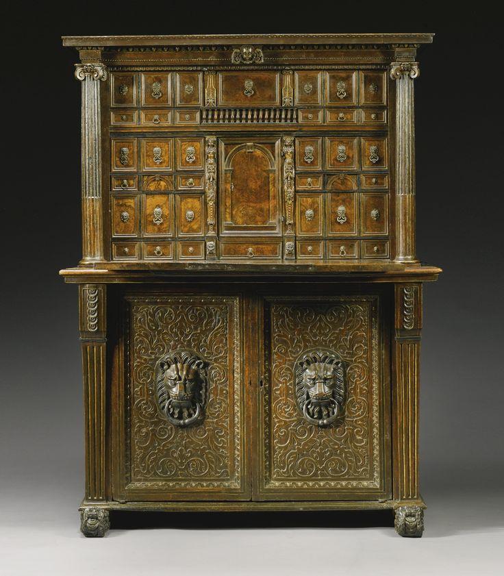 An Italian Renaissance ebony inlaid parcel-gilt and walnut secrétaire cabinet, Mantua or Ferrara mid 16th  c