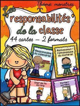 44 cartes de responsabilités dans la classe pour faire votre tableau de…