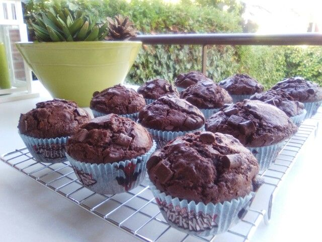 Muffins dobles de chocolate