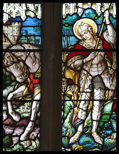 St George slaying the dragon. 23rd April.  Patron Saint of England.