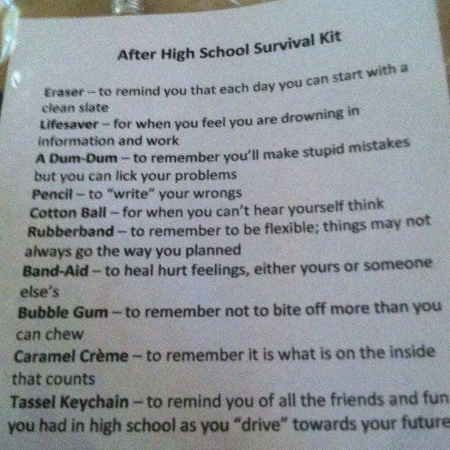 After Graduation Survival Kit Graduation Pinterest
