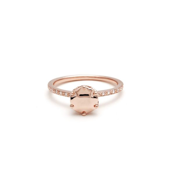 Anna Sheffield 14K Rose Gold and Diamond Hazeline Solitaire Ring