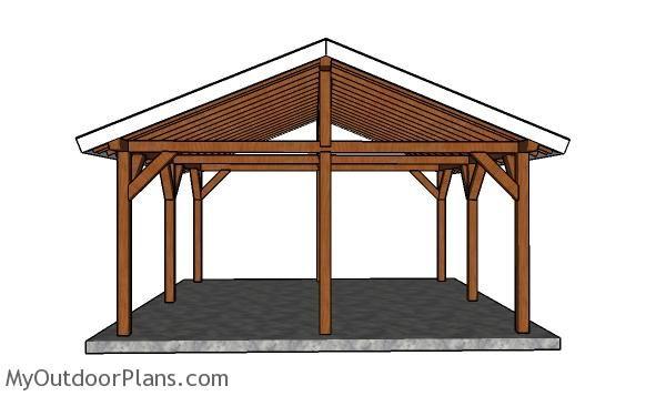 18x18 Picnic Shelter Plans Pavilion Plans Carport Designs Diy Wood Plans