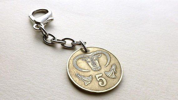 Cyprus Coin charm Coin keychain Greek charm Purse charms