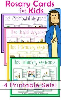 Cartões de Rosário para Crianças Católicas