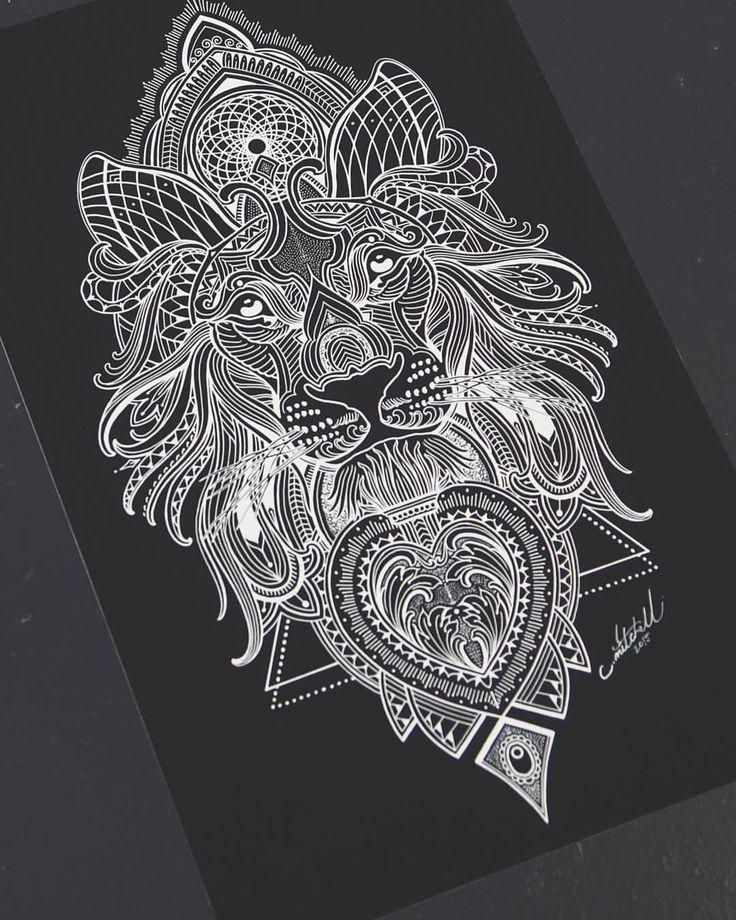 Mosaic Lion A3 prints available on my website: Www.tattoogoldnz.com @tattoogold…