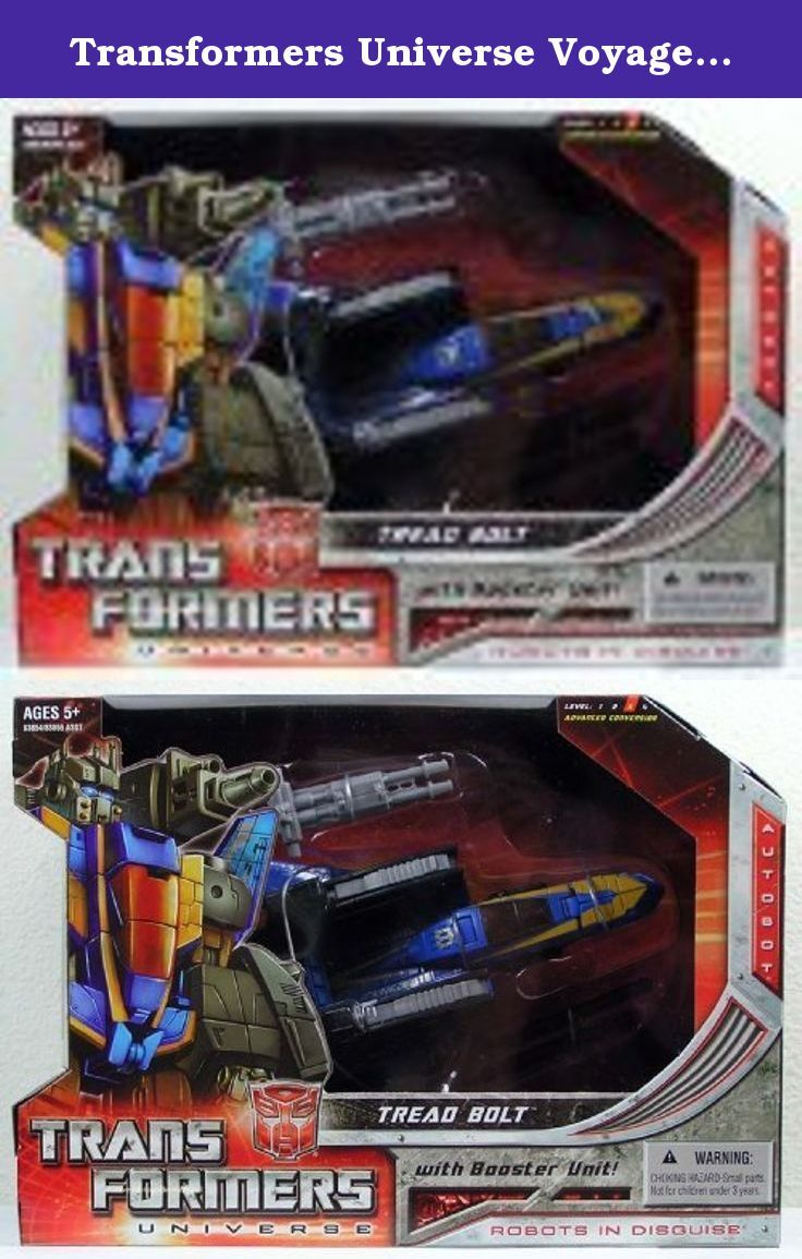 Transformers Universe Voyager Class - Autobot Tread Bolt by Hasbro. Take command of your TransFormers collection with this TransFormers Universe Voyager Class Tread Bolt AUTOBOT ally figure that converts from menacing robot mode to stealth jet mode and back again! Put on this guys helmet and engage the arm blasters projectiles in detailed robot mode. Change into jet vehicle mode for rotating laser cannons! Use your imagination and your advancedconversion skills while staging your own...