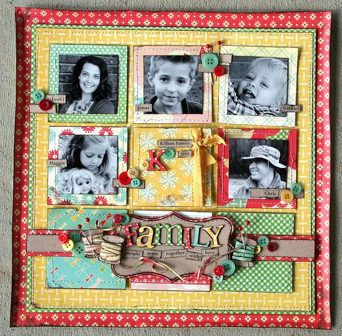Love it!: Scrapbook Photos, Scrapbook Pages Layout, 5 Pictures Scrapbook Layout, Cosmo Cricket, Papercraft Scrapbook, Photos Layout, Families Layout, Families Scrapbook Ideas, Families Scrapbook Pages Ideas
