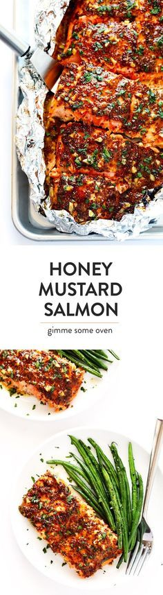This 25-Minute Honey Mustard Salmon recipe is easy to make in the oven or grilled, it's full of amazing garlic honey mustard and herb flavors, and it's absolutely DELICIOUS!   gimmesomeoven.com