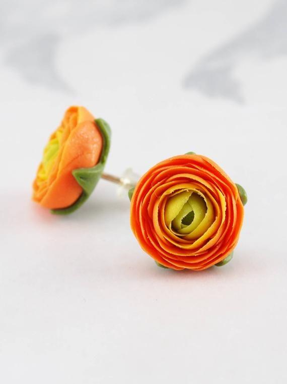 Flower Earrings Stud Orange Ranunculus Flower Small Stud Etsy Bisuteria Aretes Aretes Bisuteria