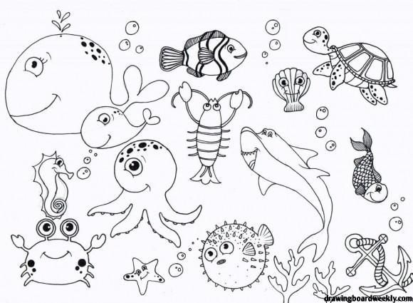 Under The Sea Coloring Pages In 2020 Ocean Coloring Pages Animal Coloring Pages Under The Sea Drawings