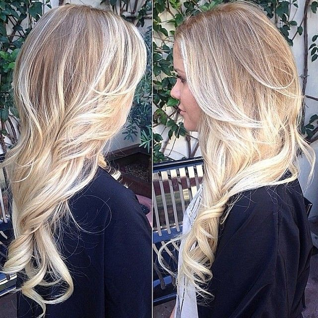 Love this Balayage Blonde color and def will be adding cotton candy pink peekaboo highlights. ✂️