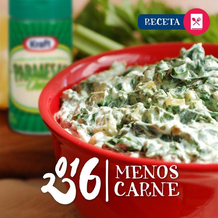Ingredientes:  1 lata (14 oz) de corazones de alcachofa, escurridos y finamente picados 1 paquete (10 oz) de espinaca picada congelada; descongélala y escúrrela bien antes de usar) 3/4 taza de queso parmesano rallado KRAFT Grated Parmesan Cheese 3/4 taza de mayonesa reducida en grasa KRAFT Light Mayo Reduced Fat Mayonnaise 1/2 taza de queso mozzarella desmenuzado con leche al 2% KRAFT 2% Milk Shredded Mozzarella Cheese 1/2 cucharadita de ajo en polvo
