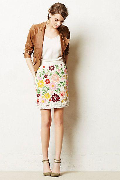 Ayaka Embroidered Skirt #anthropologie