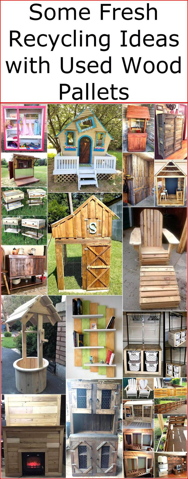Reused wood pallets plan will able you to craft a beautiful and complete wood pallet playhouse for kids, a thought-provoking pallets shelf and closet, a useful pallets twin bed, a stunning nightstand for your bedroom and much more. So let's indulge you in this awesome and creative activity of recycling and renovate your place with few fabulous and extraordinary wooden products made from useless wood pallets.
